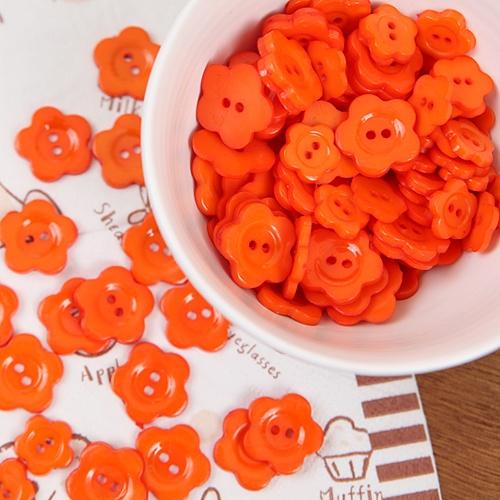 꽃모양단추-오렌지