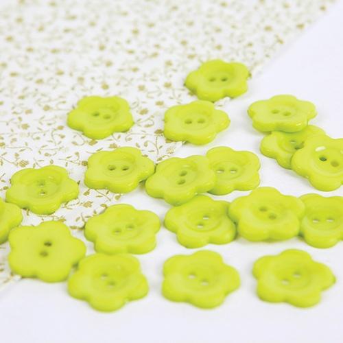 꽃모양단추-옐로우그린