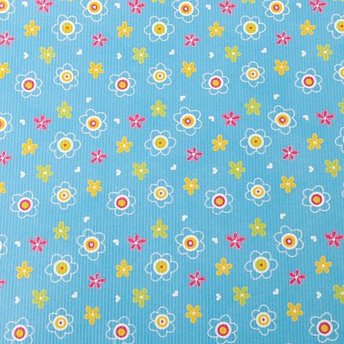 작은 꽃무늬- 스카이블루 포장지(5장)