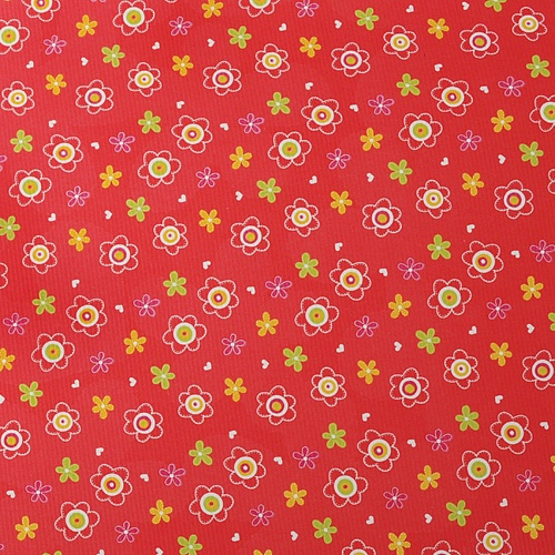 작은 꽃무늬- 레드 포장지(5장)