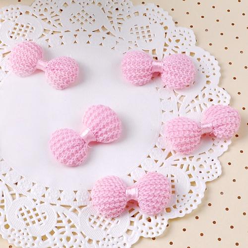 니트뜨개 리본 (5개)- 핑크