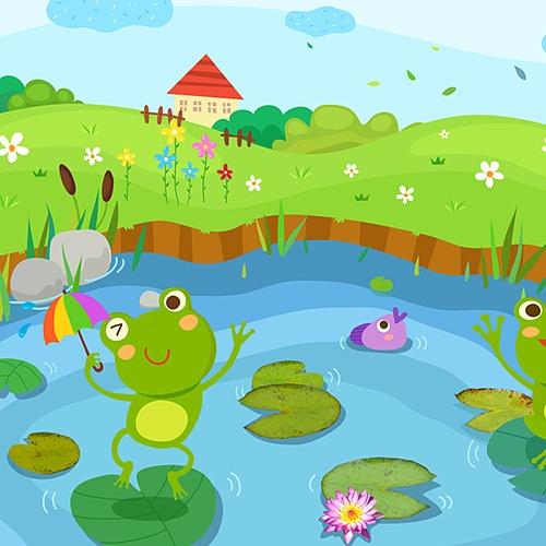 연못 배경 현수막(3M*2M)