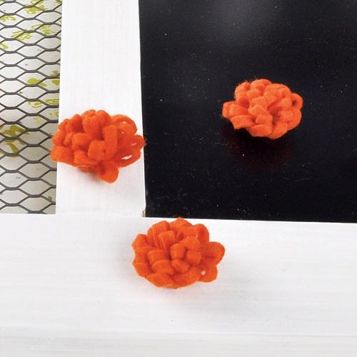 펠트 꽃(오렌지) 4개