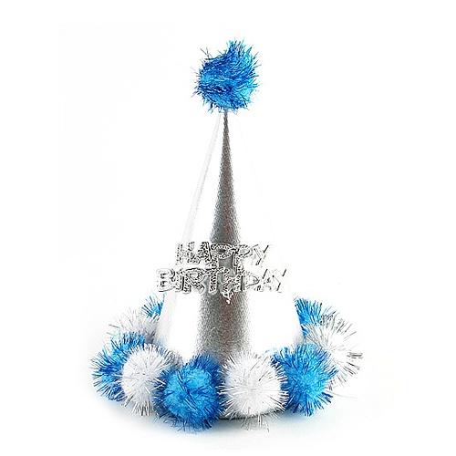 미니솜방울 고깔모자 (블루)