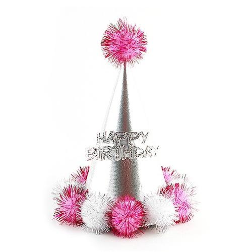 미니솜방울 고깔모자 (핑크)