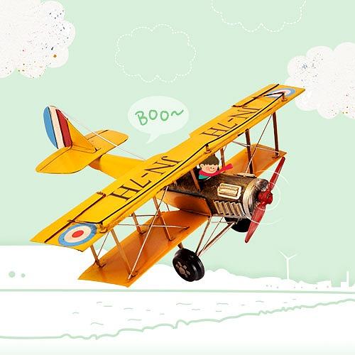 빈티지 비행기 모형-노랑(대)