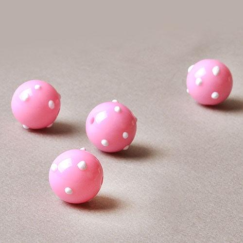 엠보싱 도트 구슬 비즈 - 핑크(1p)
