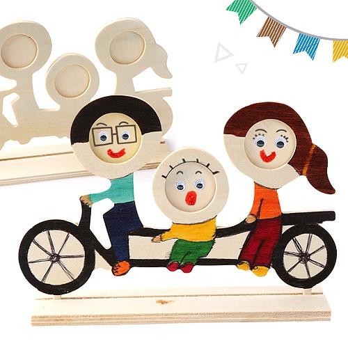 [나무액자]자전거탄가족액자