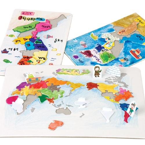 세계지도 퍼즐 (5인용_인쇄물포함)