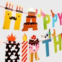 코믹 패턴 생일가랜드