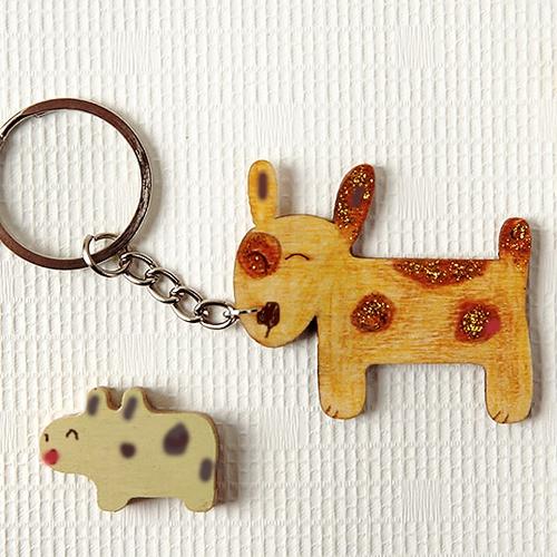 [열쇠고리]강아지 우드키링