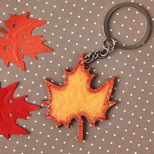 낙엽 우드 키링