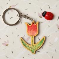 [열쇠고리]튤립 우드키링