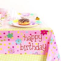 생일 테이블보_ 핑크 꽃무늬